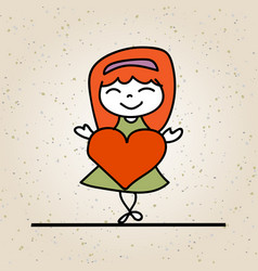 Hand drawing abstract happy cute kid line art vector