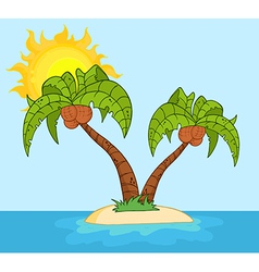 Island With Two Palm Tree vector image vector image
