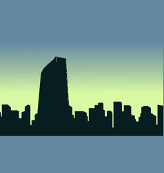 Mexico city scenery silhouettes at sunrise vector