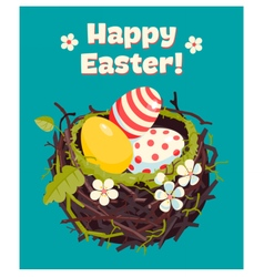 Nest with eggs and spring flowers vector