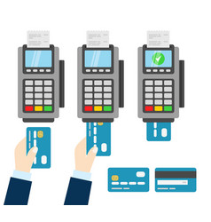 Nfc payment pos terminal wireless payment vector
