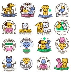 Pet shop badge set vector