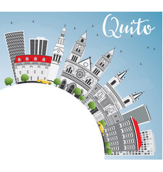 quito skyline with gray buildings blue sky and vector image vector image