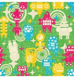 Robot and monsters modern seamless pattern vector image