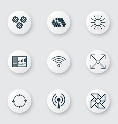 set of 9 machine learning icons includes hive vector image vector image