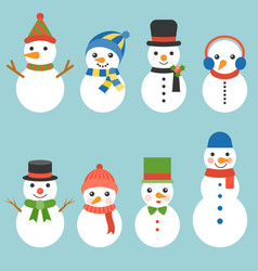 snowman greeting collection vector image vector image