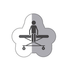 sticker monochrome pictogram patient in stretcher vector image