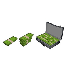 Suitcase with money Case with cash Stack of vector image vector image