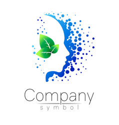 symbol of human head and leaf profile face vector image vector image