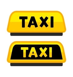 Taxi car roof sign logo label set vector