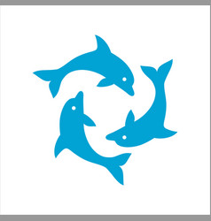 three dolphins form a circle vector image vector image