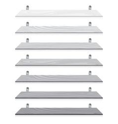 White blank wooden bookshelf set isolated on white vector image vector image
