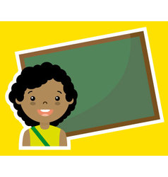 Girl with blackboard vector image
