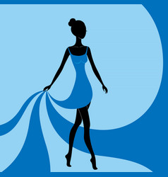 beautiful girl in a blue dress vector image
