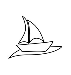Silhouette boat in the ocean icon vector