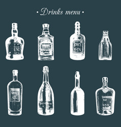 hand sketched bottles of alcoholic beverages rum vector image
