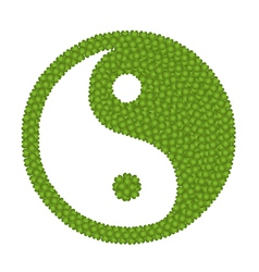 The ying yang sign made of four leaf clover vector