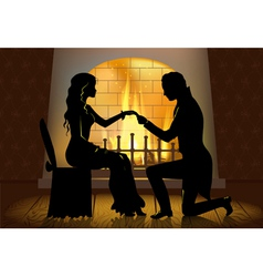 Couple near fireplace vector