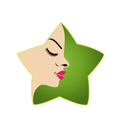 A ladys face in a green flower logo for parlor vector