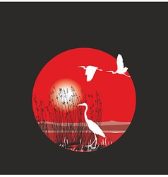 Herons and reeds in the ring vector image