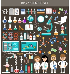 Big science set infographics vector