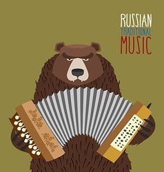 Bear playing accordion russian national musical vector