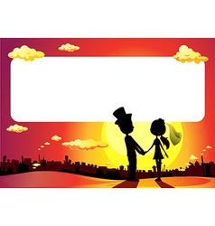 Wedding silhouette in sunset - frame vector