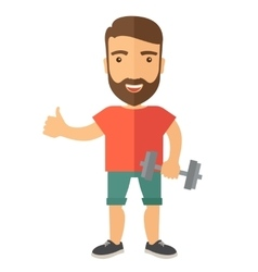 Exercising man holding dumbells vector