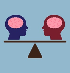 Thinking brain heads on weight scale vector