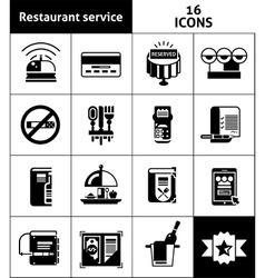 Restaurant service icons black vector