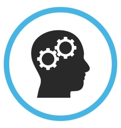 Brain gears flat rounded icon vector