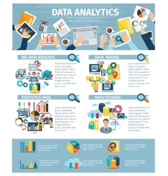 Data analytics infographic elements flat poster vector