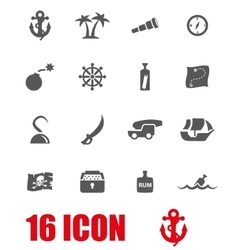 Grey pirate chart icon set vector