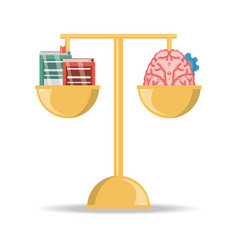 Balance with books and brain with gear knowledge vector