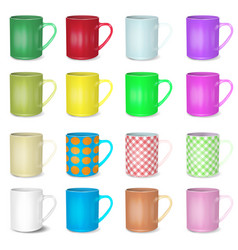 Big set of realistic white and colored cups blank vector