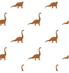 Brown brachiosaurus dinosaur pattern seamless vector