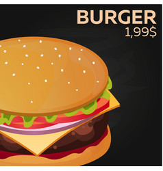 Burger price fast food restauran menu vector
