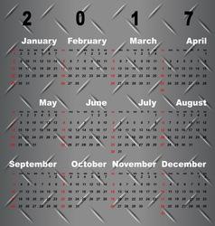 Business template of 2017 calendar on metal grey vector