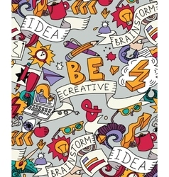 Creative doodles idea brainstorm color poster vector image