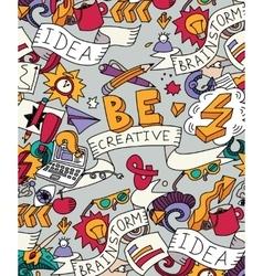 Creative doodles idea brainstorm color poster vector image vector image