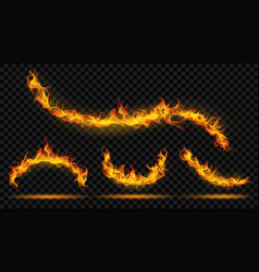 curved fire flame vector image vector image