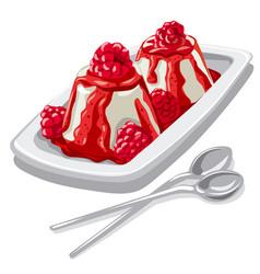 Dessert panna cotta with raspberry vector