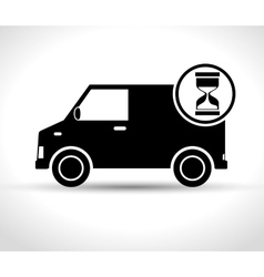 Fast truck delivery transporting icon vector