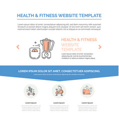 Fitness template with line icons vector