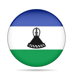 Flag of lesotho shiny round button vector