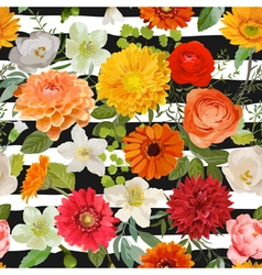 Floral Seamless Pattern Summer and Autumn Flowers vector image vector image