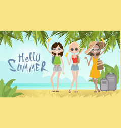 Girls on summer beach vacation concept seaside vector