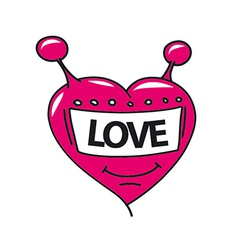 Logo robot head in the form of heart vector