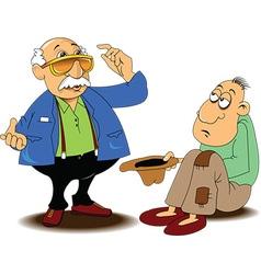 Man with beggar cartoon vector