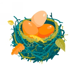 Nest with red eggs and dry leaves vector
